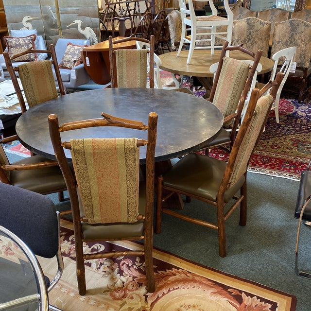 Custom Round Cement + Teak Dining Table + Six Hickory Wood Chairs- a Set For Sale - Image 12 of 13