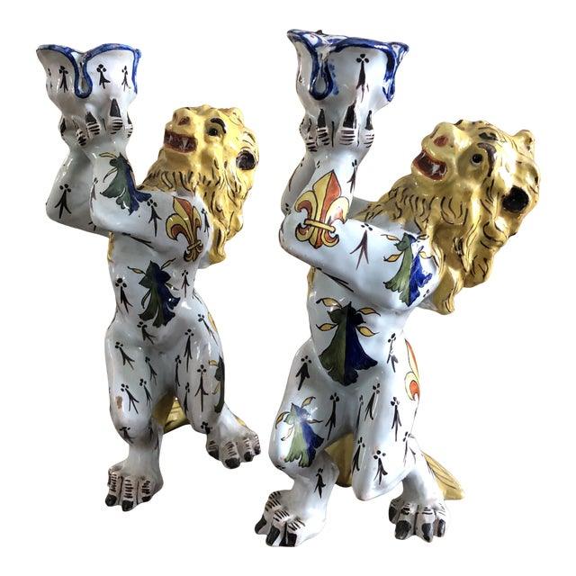 Mid 19th Century French Victorian Quimper Faience Ceramic Heraldic Lion Candlesticks - a Pair For Sale