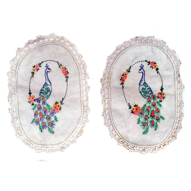 Vintage Peacock Embroidered Ecru Doilies - S/3 - Image 4 of 8