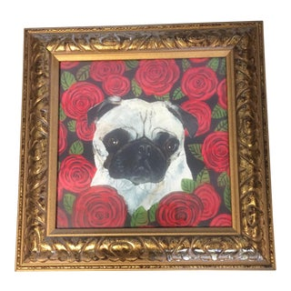 "Judy Henn ""Pug in Roses"" Dog Print For Sale"