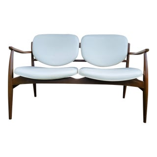 Mid 20th Century Danish Modern Style White Settee For Sale