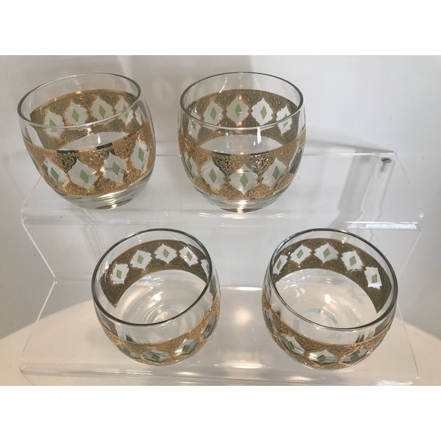 Green 1950s Culver Valencia Green and 22k Gold Roly Poly Cocktail Glasses - Set of 4 For Sale - Image 8 of 10