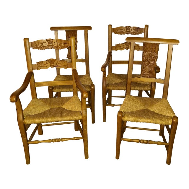 1970s French Country Hand Carved Rush Seat Chairs - Set of 4 For Sale
