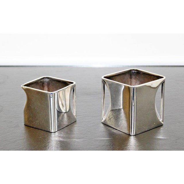 Metal Art Deco Metal 5-Piece Cube Tea Pot Set Stamped Made in England 1917 For Sale - Image 7 of 10