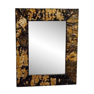 Tan & Brown Fleur De Lis Tin Mirror For Sale