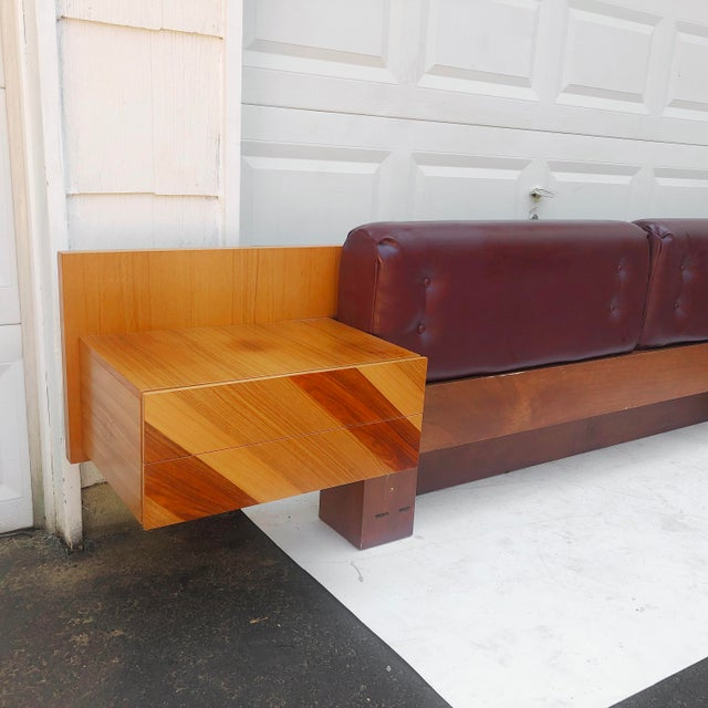1970s Mid-Century Modern Kingsize Headboard With Nightstands by Rougier For Sale - Image 5 of 13