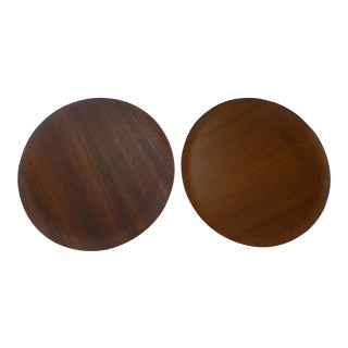 Vintage Danish Modern Teak Chargers - A Pair