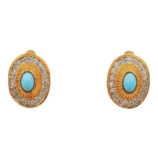 1950s Nettie Rosenstein Goldtone Cabochon Faux-Turquoise & Clear Rhinestone Earrings For Sale