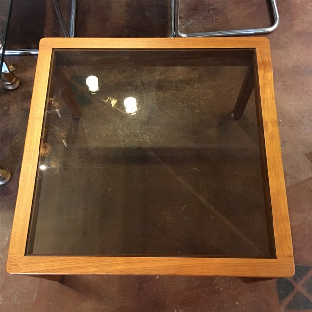 Mid-Century Teak & Smoked Glass Top Coffee Table - Image 3 of 7