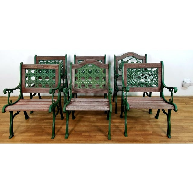 A Vintage Garden Set Of 6 Chairs From Berkeley Forge And Foundry With Oak Cast