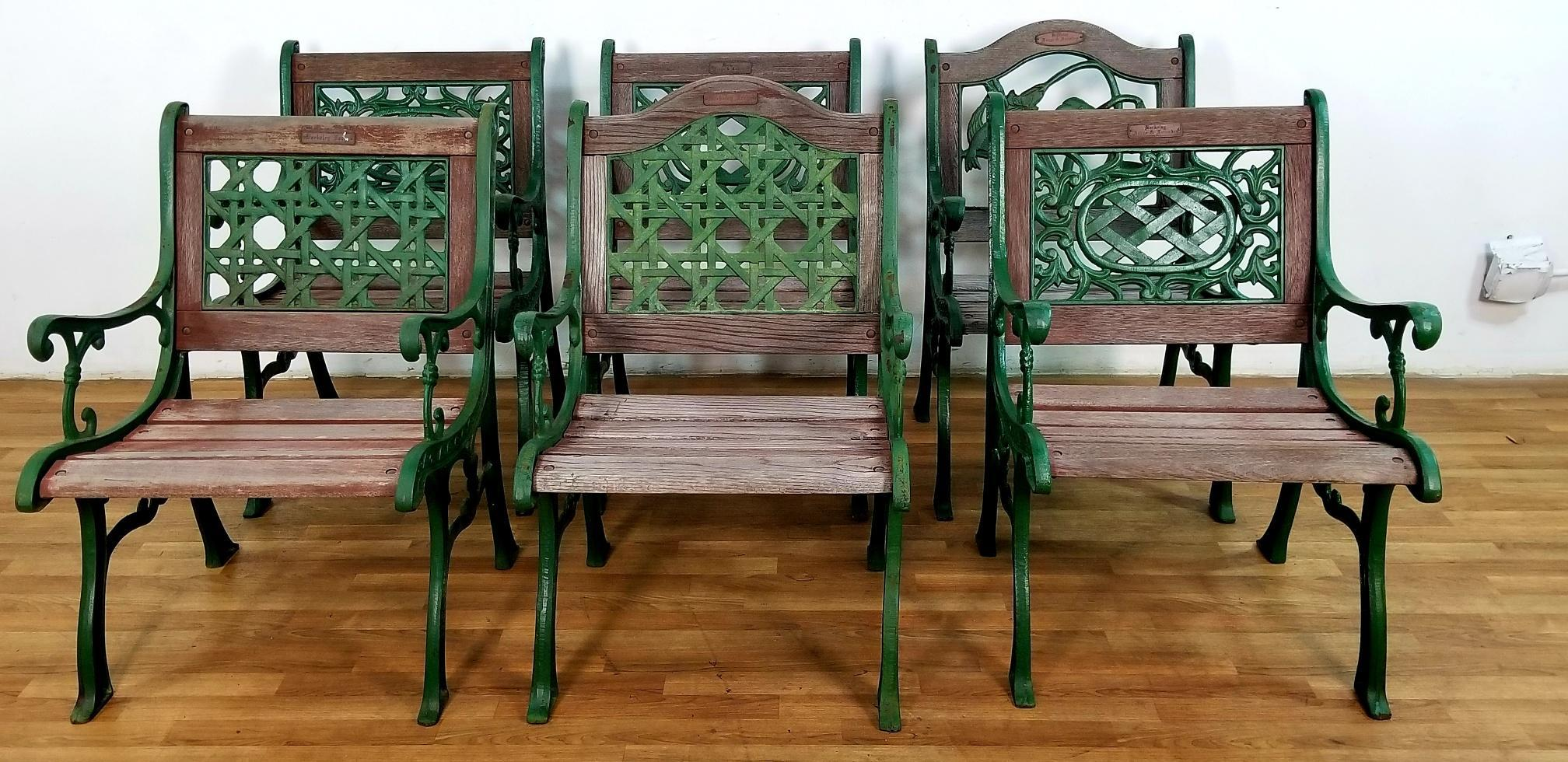 Charmant A Vintage Garden Set Of 6 Chairs From Berkeley Forge And Foundry With Oak  And Cast