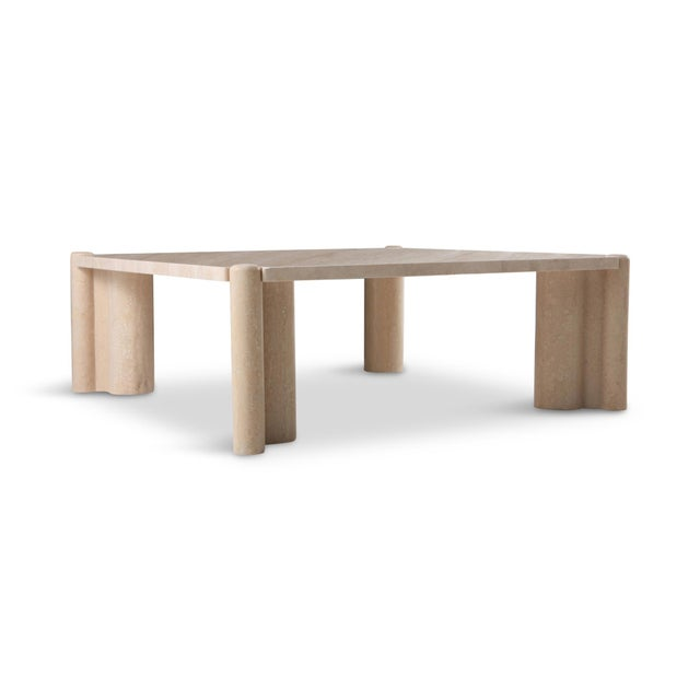 Gae Aulenti Jumbo Travertine Square Coffee Table For Sale - Image 6 of 9