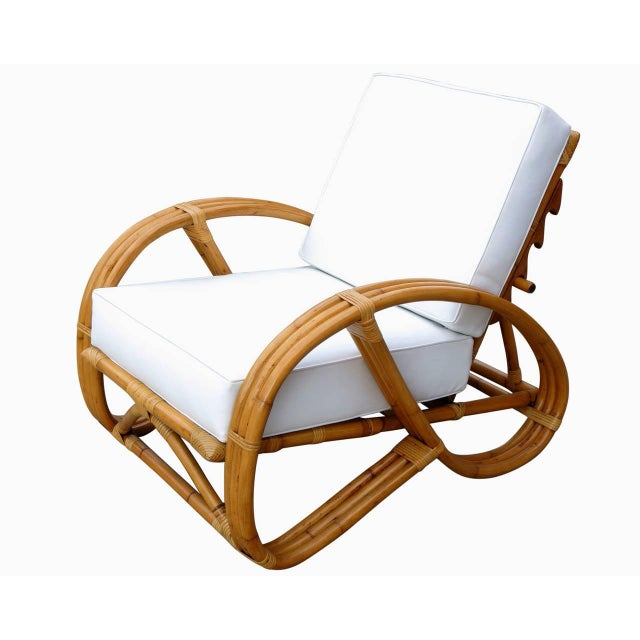 Boho Chic Restored Rattan Reclining Lounge Chair With 3/4 Pretzel Arms and Ottoman For Sale - Image 3 of 6