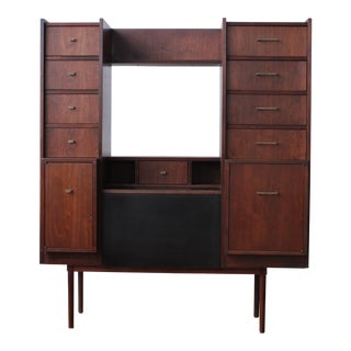 1950s Scandinavian Modern Walnut Home Office and Wall Unit For Sale