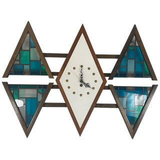 "Mid-Century Modern ""Diamond"" Wall Clock by Penthouse Art Creations For Sale"