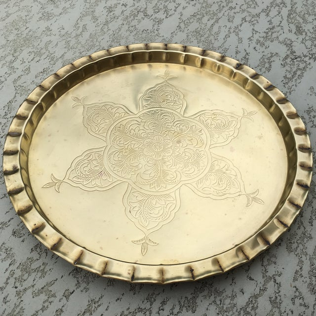 Vintage Round Bohemian Mid-Century Brass Tray For Sale - Image 4 of 11