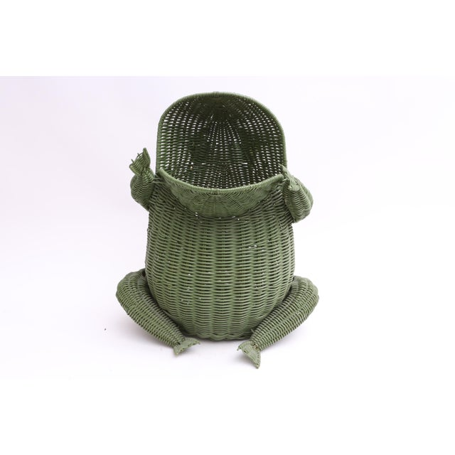 Mid-Century Modern Mid Century Large Wicker Frog Basket For Sale - Image 3 of 7