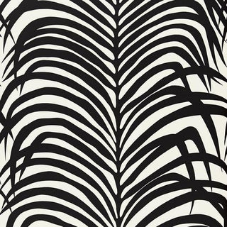 Sample - Schumacher Zebra Palm Pattern Floral Animal Wallpaper in Ebony Black For Sale