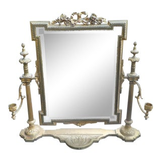 Antique Dore Bronze Vanity Mirror With Candleholders For Sale