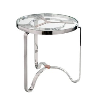 Modern Rose Gold and Chrome Clock Top Side Table For Sale
