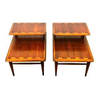 1970s Mid-Century Modern Andre Bus for Lane 2-Tier End Tables - a Pair For Sale