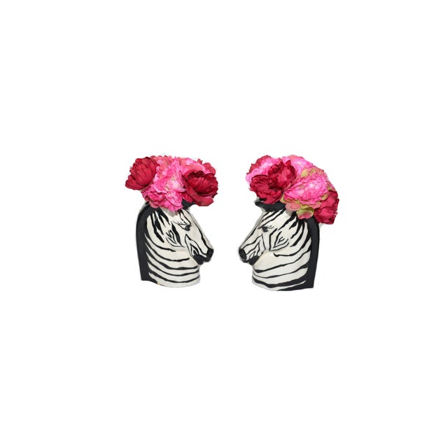 Vintage Zebra Head Vase - A Pair For Sale - Image 9 of 10