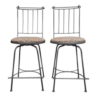 Vintage Wrought Iron Swivel Bar Stools by Charleston Forge - a Pair For Sale