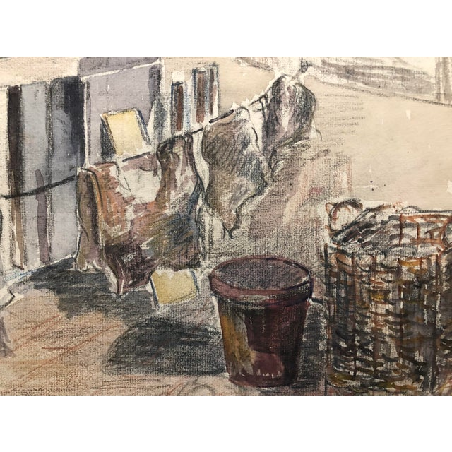 Traditional 1920s Laundry on the Porch Scene by Olga Silova For Sale - Image 3 of 6