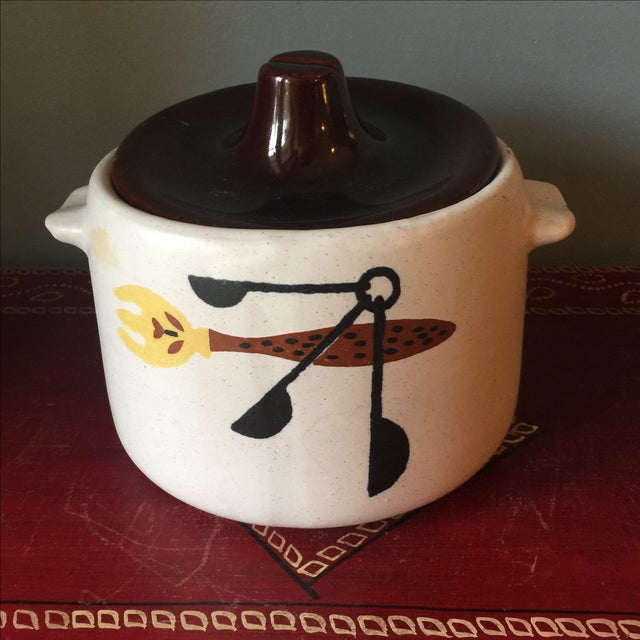Here is a darling Mid-Century Modern ceramic lidded kitchen pot. Has a cute graphic of a serving fork and a set of...
