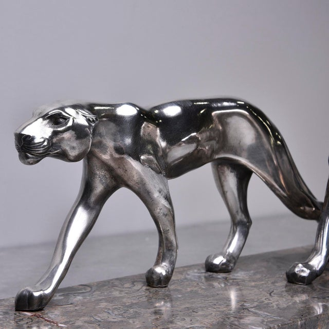 """Metal Art Deco """"Two Panthers"""" Statue For Sale - Image 7 of 9"""