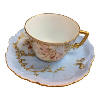 Limoges Cherub Cup and Saucer Set For Sale