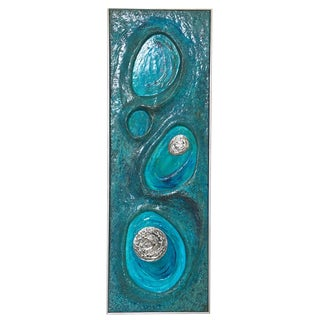 Lorraine Stelzer 1969 Psychedelic Turquoise Acrylic Resin Wall Sculpture Panel For Sale