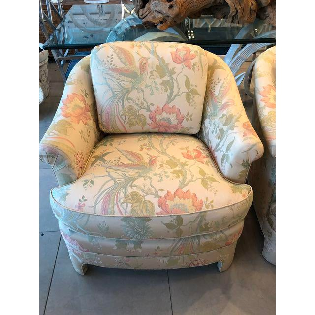 White Vintage Pastel Tropical Birds Club Lounge Chairs - a Pair For Sale - Image 8 of 11