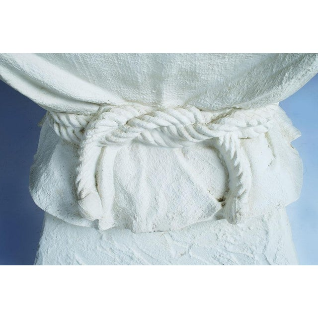 Italian Faux Plaster Roped Drapery Pedestal Table For Sale - Image 3 of 3