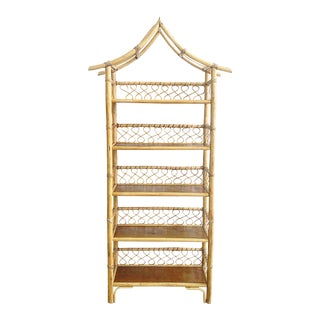 Vintage Rattan Pagoda Style Etagere For Sale