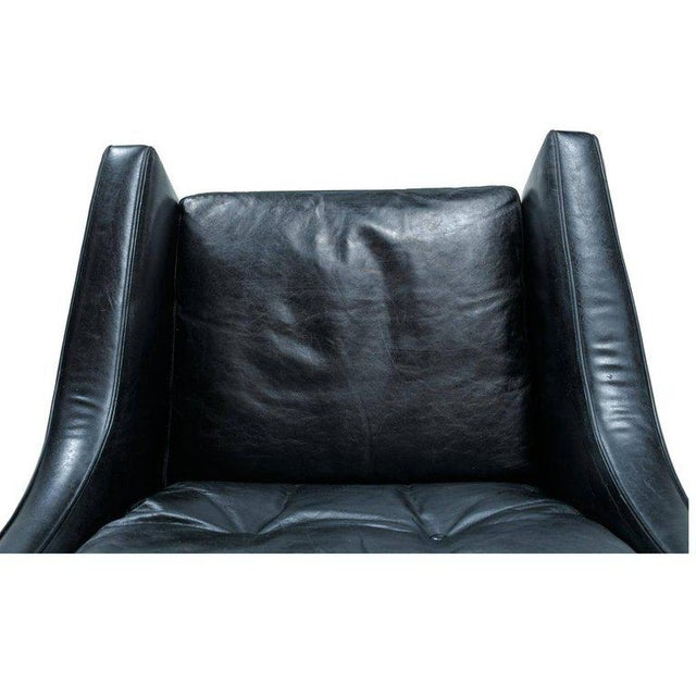 Borge Mogensen Style Black Leather & Rosewood Wingback Lounge Chair & Ottoman - Image 6 of 9