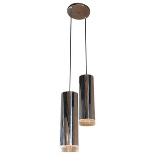 Modernist Graduated Chrome Cylinder Pendant Light from Switzerland For Sale