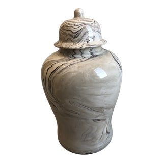 Contemporary Tozai Home Terre Melee Brown Marbleized Temple Jar With Lid