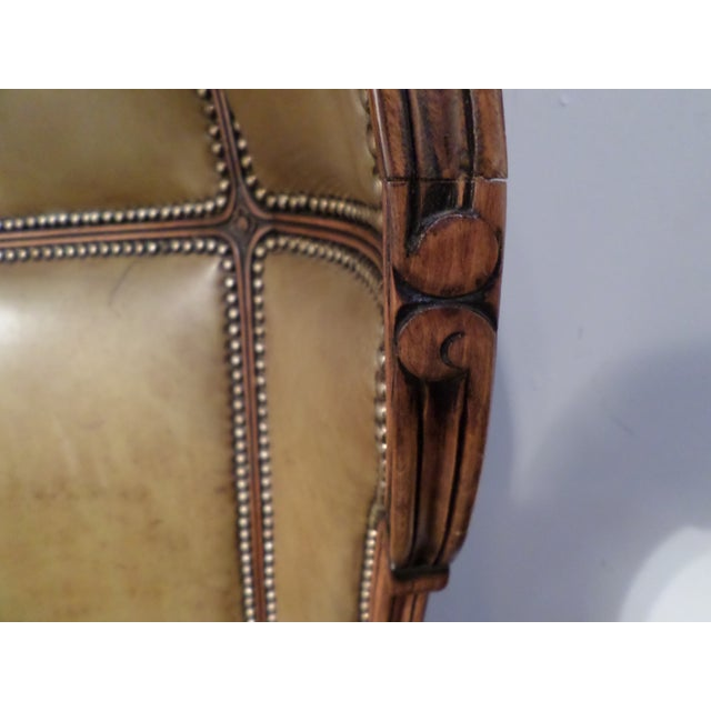 Louis XV Style Carved Beechwood & Leather Porter Chair For Sale - Image 12 of 12