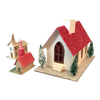 """Putz House"" Ornaments - Set of 3"