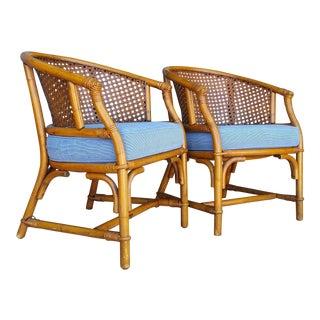 Vintage Mid-Century McGuire Style Rattan Armchairs - a Pair