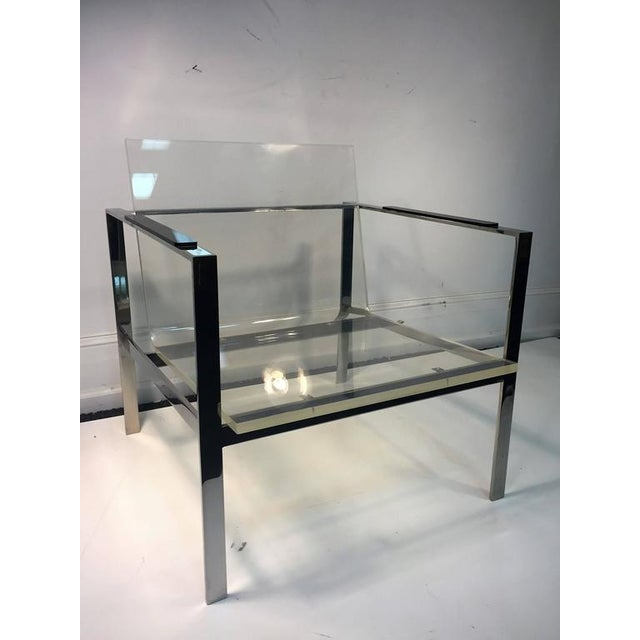 1970s Rare Pair of Modernist Lucite And Nickeled Bronze Chairs by Laverne For Sale - Image 5 of 10