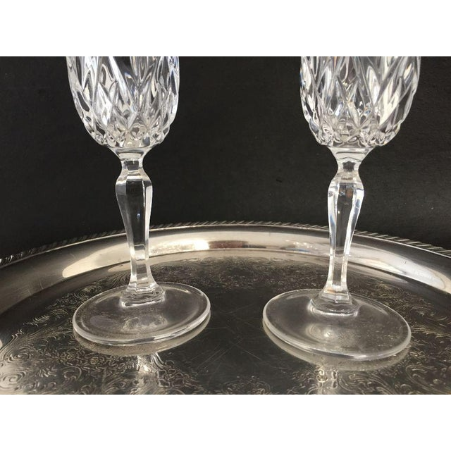 Serving for 2 Champagne Glasses & Silver Plate Tray - Set of 3 For Sale - Image 5 of 6