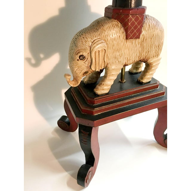 Handpainted Wooden Elephant Floor Table Lamp