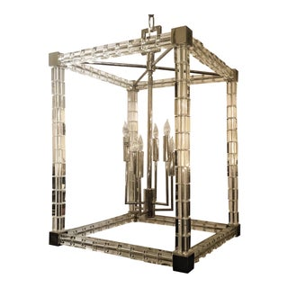 Estate Neo-Modern Retro Lucite and Chrome Lantern. For Sale