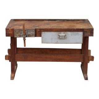 1980s Rustic Mini Work Bench Table For Sale