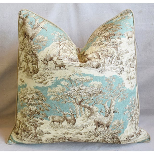 "Early 21st Century Woodland Toile Deer & Velvet Feather/Down Pillows 25"" Square - Pair For Sale - Image 5 of 13"