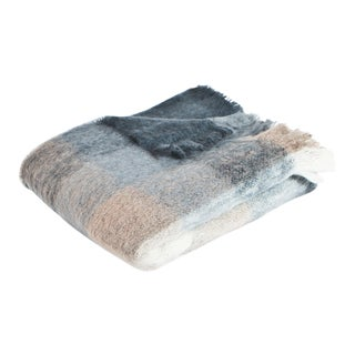 Charcoal White & Mink Check Mohair Throw For Sale