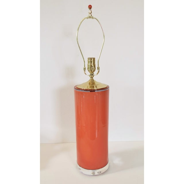 Coral Glass Cylinder Lamp & Shade - Image 3 of 5