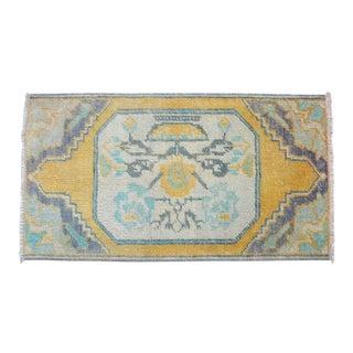 "Hand Made Small Rug Mat. Anatolian Yastik 16"" X 30"" For Sale"